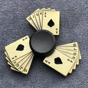 Antique-Poker-Royal-Flush-Fidget-Spinner---Brass